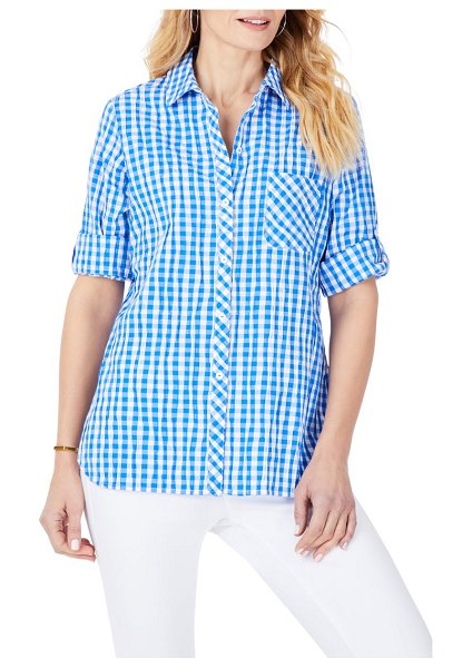 Foxcroft crinkle gingham button-up shirt in blue