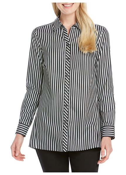 Foxcroft emilia holiday stripe shirt in black/ white - Multidirectional stripes give eye-catching appeal to...