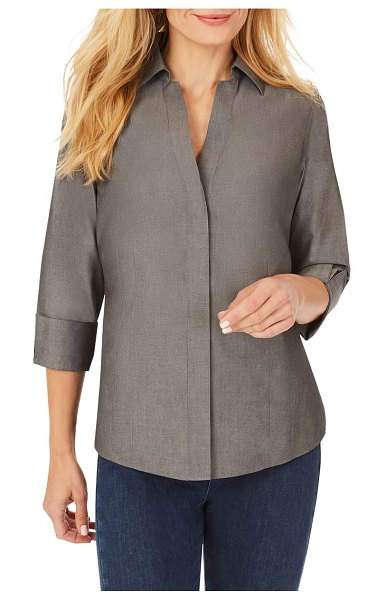 Foxcroft taylor fitted non-iron shirt in charcoal