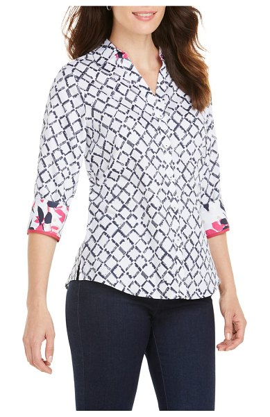 Foxcroft mary diamond lattice wrinkle free shirt in white - A polished button-front shirt is shaped from easy-care...