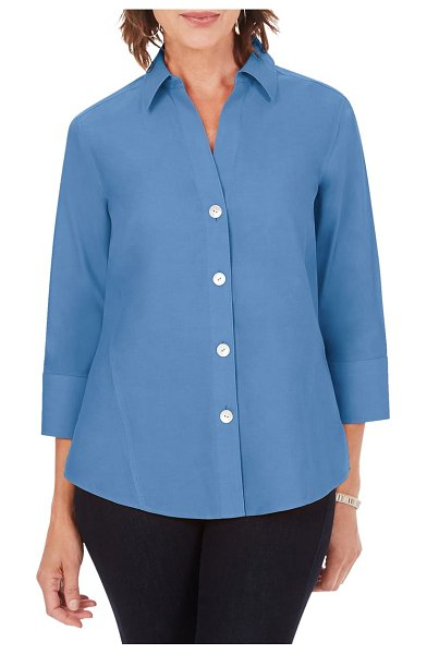 Foxcroft paityn non-iron cotton shirt in mountain blue