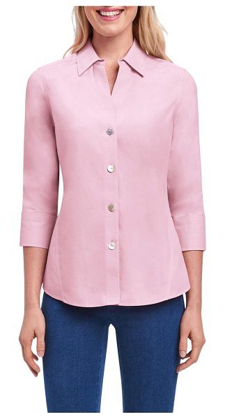 Foxcroft paityn non-iron cotton shirt in chambray pink - A wardrobe-staple shirt with three-quarter sleeves is...
