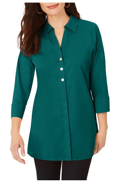 Foxcroft pamela stretch button-up tunic in evergreen