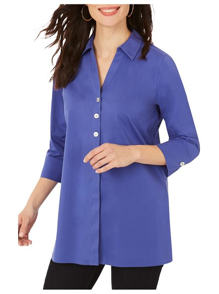 Foxcroft pamela stretch button-up tunic in violetta