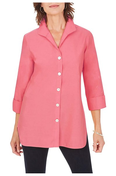 Foxcroft pandora non-iron cotton shirt in wild rose