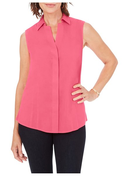 Foxcroft taylor non-iron sleeveless shirt in think pink