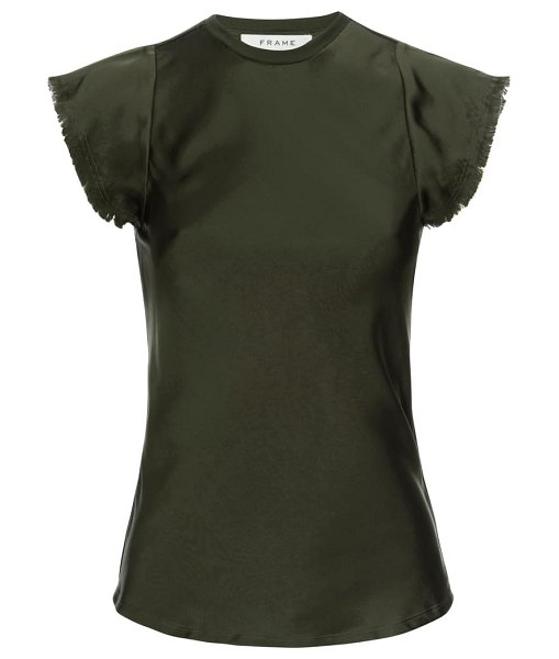 FRAME bias cut washable silk satin top in military