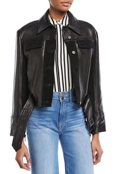 FRAME Button-Front Paneled Leather Moto Jacket - FRAME moto jacket in lamb leather with suede trim. Spread...