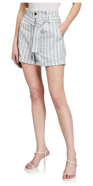 FRAME Casual Striped Linen Shorts in chambray multi