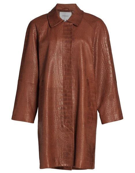 FRAME crocodile-embossed leather trench coat in redwood croc