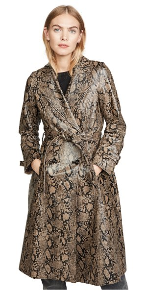 FRAME embossed python trench coat in brown multi