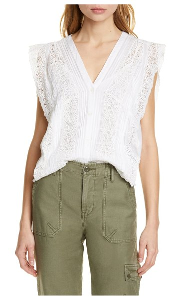 FRAME lace trim pintuck blouse in blanc