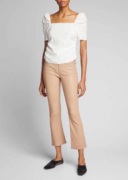 FRAME Le Crop Mini Boot-Cut Leather Pants in toasted almond