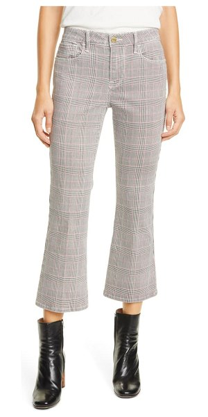 FRAME le cropped high waist mini plaid bootcut jeans in washed plaid