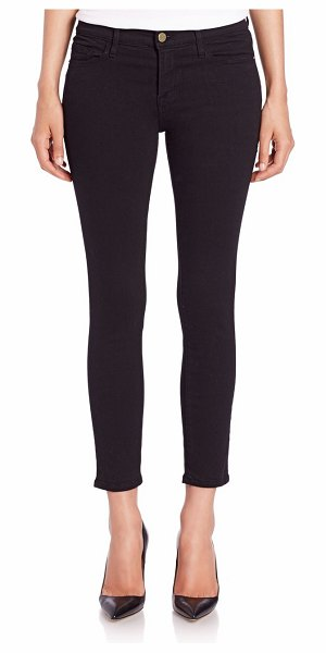 FRAME le cropped mid-rise skinny jeans in film noir
