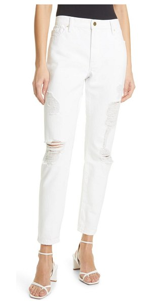 FRAME le garcon distressed ankle boyfriend jeans in rumpled blanc rips