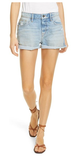 FRAME le grand garcon distressed high waist denim shorts in clash