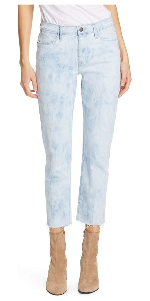 FRAME le high raw hem ankle straight leg jeans in cloud - A tie-dye effect acid wash and soft stretch denim will...