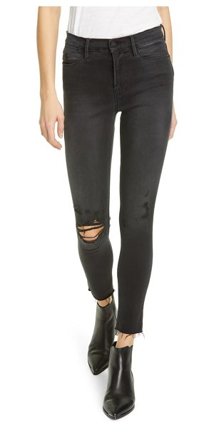 FRAME le high ripped raw hem crop skinny jeans in brisbane rips
