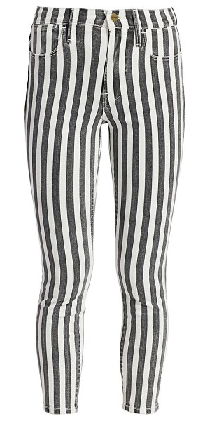 FRAME le high skinny crop striped jeans in noir multi