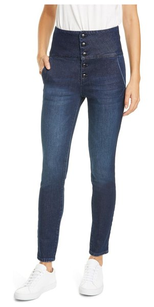 FRAME le military band high waist skinny jeans in leandro