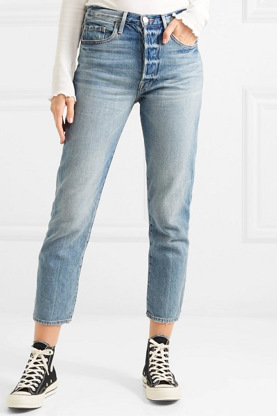 FRAME le original high-rise straight-leg jeans in light denim