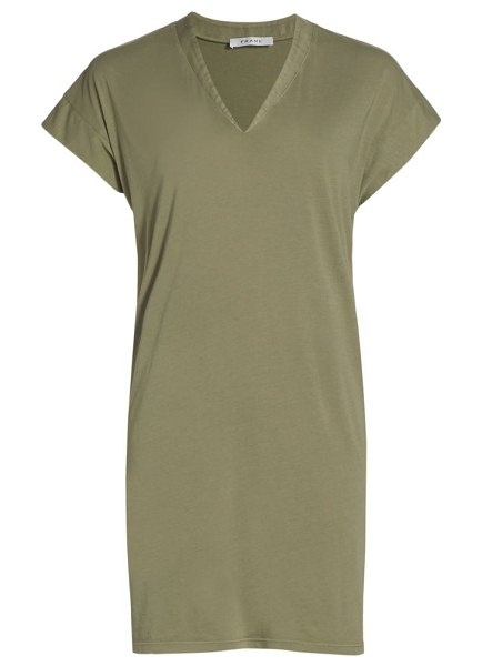 FRAME le v mini t-shirt dress in washed military
