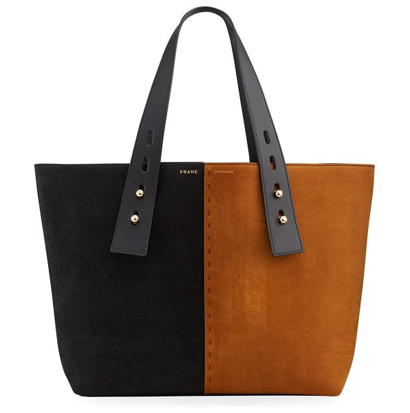 FRAME Les Second Medium Two-Tone Suede Tote Bag in whiskey multi