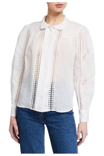 FRAME Paneled Lace Button-Up Top in blanc