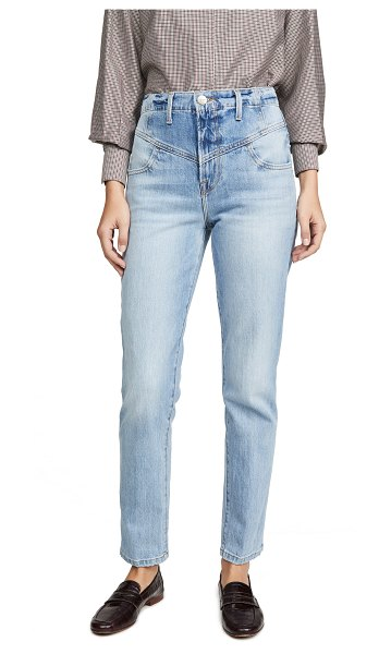FRAME retro v yoke straight jeans in bianca