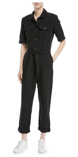 c119e2b2385 FRAME Short-Sleeve Button-Down Belted Straight-Leg Cotton-Linen Jumpsuit in