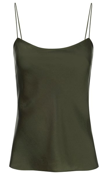 FRAME washable silk satin camisole in military