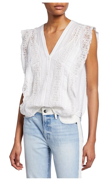 FRAME Sleeveless Lace Pintuck Blouse in blanc