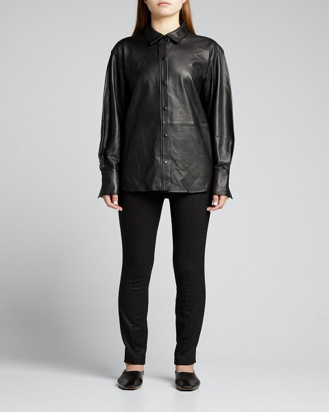 FRAME The Oversized Leather Shirt in noir