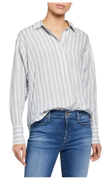 FRAME Tie Up Striped Button-Down Shirt in blue pattern