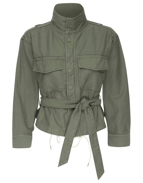 FRAME twist seam belted shirt jacket in washed military
