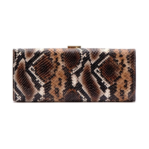 Frances Valentine eleni snake embossed leather clutch in nat/ brown