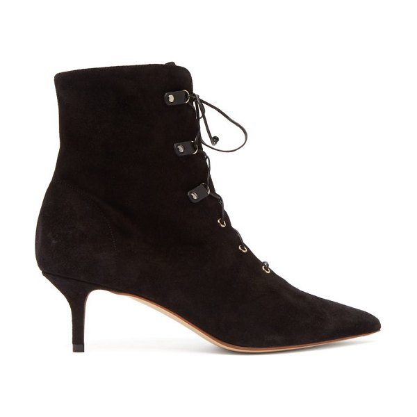 Francesco Russo lace up suede ankle boots in black