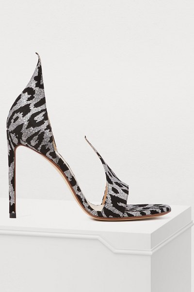 Francesco Russo Leopard sandals in black - Francesco Russo puts his name on stunningly designed...
