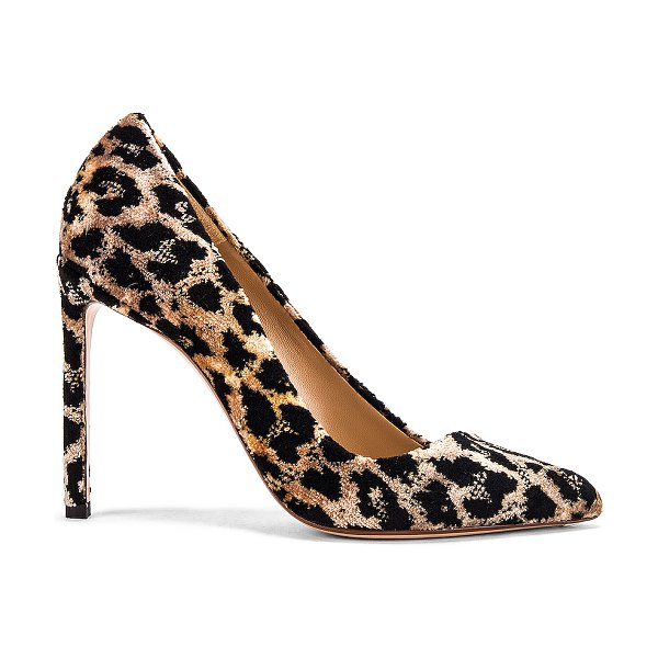 Francesco Russo velvet leopard pumps in natural