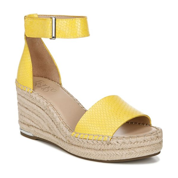 Franco Sarto clemens espadrille wedge sandal in yellow snake print