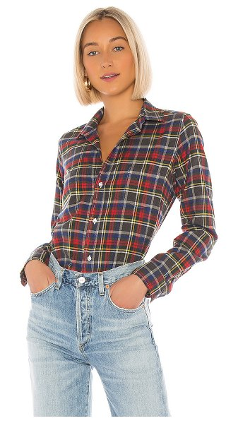 Frank & Eileen barry button down in heather grey  red  yellow & blue plaid