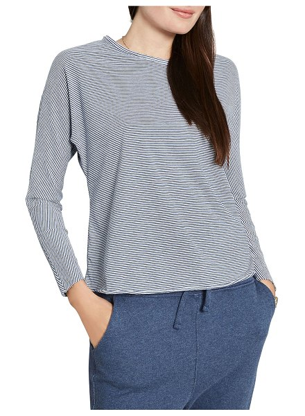 Frank & Eileen Continuous-Sleeve Striped Cotton Tee in indigo and white