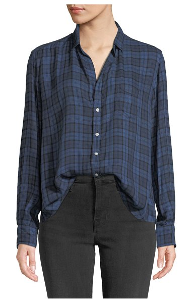 Frank & Eileen Plaid Patch-Pocket Button-Down Shirt in blue/black - Frank & Eileen plaid shirt. Spread collar; button front....