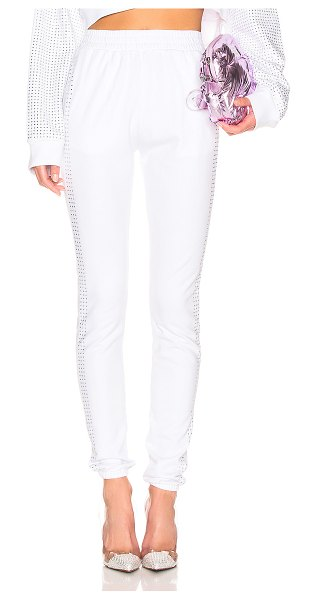 Frankie B Kendall Crystal Racing Stripe Sweatpant in white - 100% cotton.  Made in USA.  Dry clean only.  Elastic...