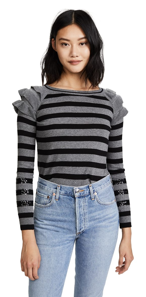 Fred and Sibel striped ruffle shoulder pullover in stripe - This striped Fred and Sibel pullover is embellished with...