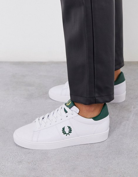 Fred Perry spencer leather sneakers in white in white