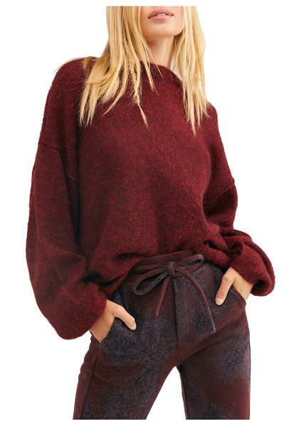 Free People angelic balloon sleeve sweater in wine