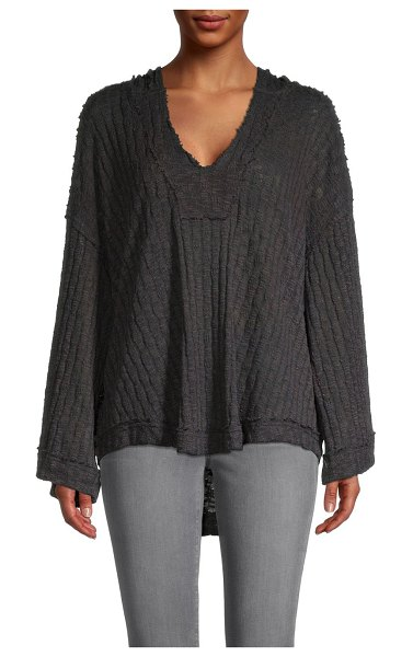Free People Baja Babe Knit Hooded Top in washed black