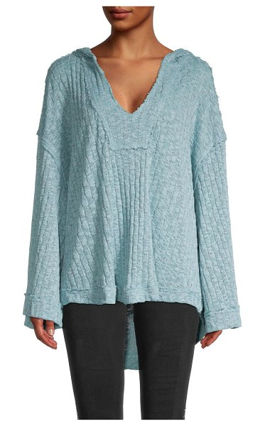 Free People Baja Babe Knit Hooded Top in blue